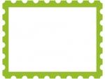 緑の切手風のフレーム飾り枠イラスト