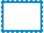 青の切手風のフレーム飾り枠イラスト