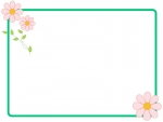 かわいいピンクの小花のフレーム飾り枠イラスト
