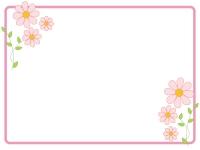 かわいいピンクの小花のフレーム飾り枠イラスト02