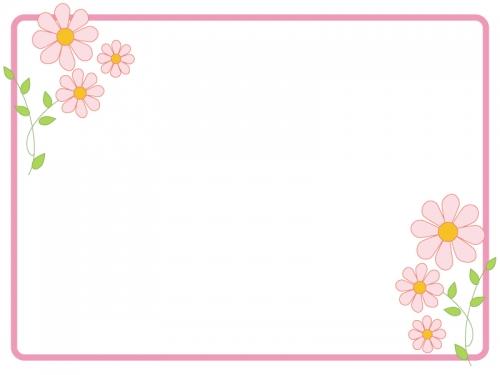 かわいいピンクの小花のフレーム飾り枠イラスト02 無料イラスト