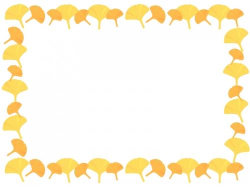 紅葉・イチョウのフレーム囲み飾り枠イラスト