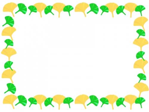 紅葉と緑のイチョウのフレーム囲み飾り枠イラスト