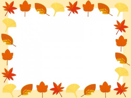 秋・紅葉や楓(かえで)などのフレーム飾り枠イラスト