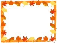 秋・紅葉や楓(かえで)などの和風フレーム飾り枠イラスト