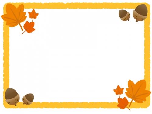 紅葉・楓(かえで)とドングリのフレーム飾り枠イラスト
