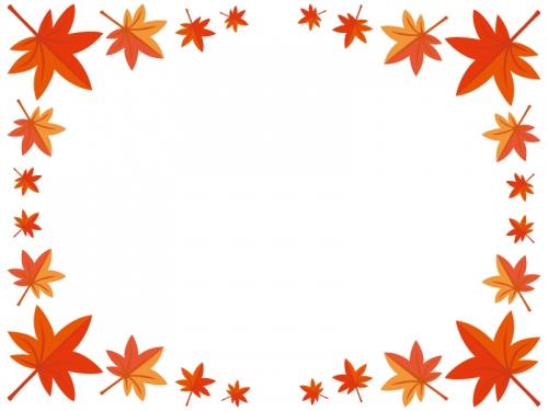 真っ赤な紅葉(もみじ)のフレーム囲み枠イラスト