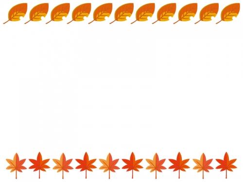 真っ赤なもみじと落ち葉の紅葉フレーム枠イラスト 無料イラスト