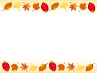 秋・紅葉の上下フレーム飾り枠イラスト