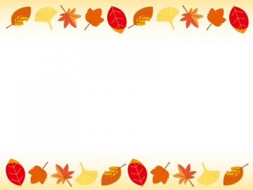 秋紅葉の上下フレーム飾り枠イラスト 無料イラスト かわいいフリー