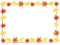 もみじとイチョウの紅葉フレーム囲み飾り枠イラスト