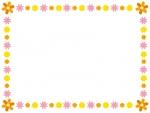オレンジ色系のかわいい花のフレーム飾り枠イラスト