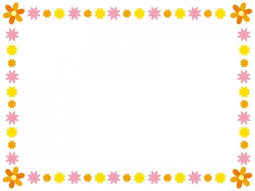 オレンジ色系のかわいい花のフレーム飾り枠イラスト 無料イラスト