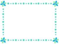 青色系のかわいい花のフレーム飾り枠イラスト