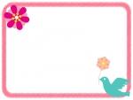 小鳥とピンクのかわいい花のフレーム飾り枠イラスト