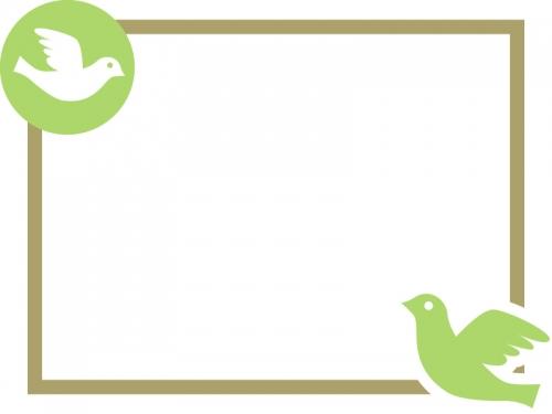 小鳥のシンプルなフレーム飾り枠イラスト