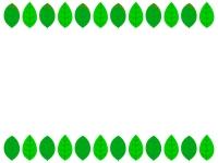 新緑の葉っぱの上下フレーム飾り枠イラスト