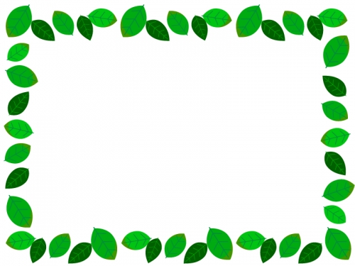 新緑の葉っぱのフレーム囲み飾り枠イラスト 無料イラスト かわいい