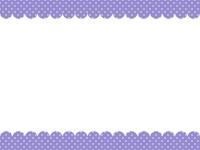 パープルドットのガーリー風モコモコフレーム飾り枠イラスト