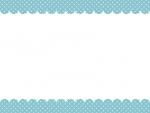 水色ドットのガーリー風モコモコフレーム飾り枠イラスト