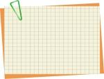 緑のクリップとメモ帳のフレーム飾り枠イラスト