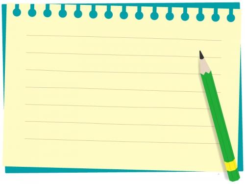 ノートと鉛筆のフレーム飾り枠イラスト