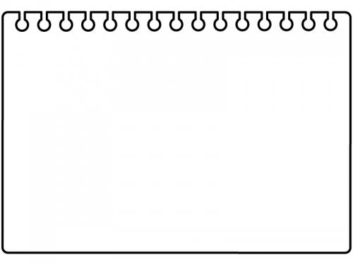 破ったリングノートの黒フレーム飾り枠イラスト 無料イラスト かわいい