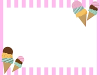 アイスとピンクのストライプのフレーム飾り枠イラスト