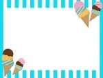 アイスと水色のストライプのフレーム飾り枠イラスト