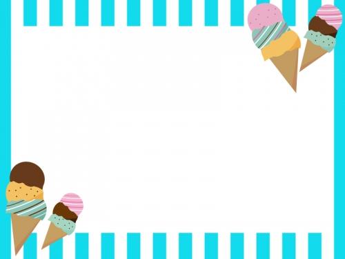 アイスと水色のストライプのフレーム飾り枠イラスト 無料イラスト