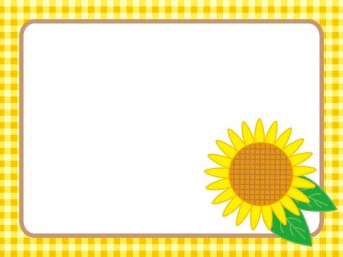 黄色いチェックとひまわりのフレーム飾り枠イラスト
