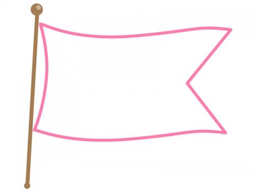 なびいた旗のフレーム飾り枠イラスト03