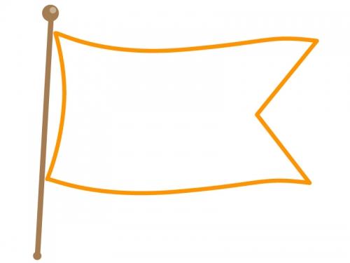 なびいた旗のフレーム飾り枠イラスト04