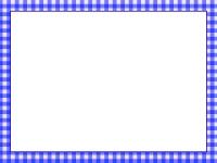 青いチェック柄のフレーム飾り枠イラスト