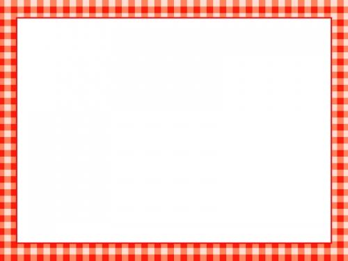 赤いチェック柄のフレーム飾り枠イラスト