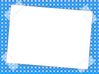 テープ風の青いチェック柄のフレーム飾り枠イラスト