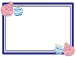 水風船の二重線フレーム飾り枠イラスト