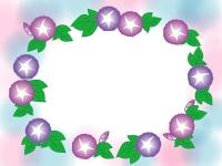 赤と紫の朝顔のふんわりフレーム飾り枠イラスト
