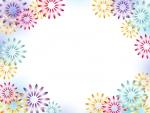 カラフルな花火のフレーム飾り枠イラスト