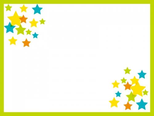 黄緑の枠の星のフレーム飾り枠イラスト