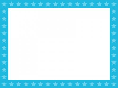 星パターン(水色)のフレーム飾り枠イラスト