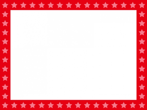 星パターン(赤)のフレーム飾り枠イラスト