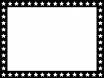 星パターン(白黒)のフレーム飾り枠イラスト