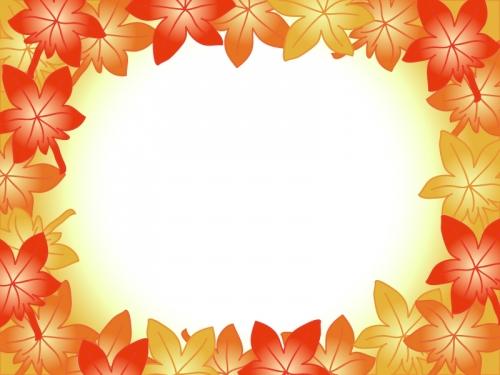 紅葉(もみじ)の囲みフレーム飾り枠イラスト