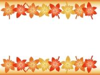 紅葉(もみじ)の上下フレーム飾り枠イラスト
