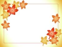 紅葉(もみじ)のふんわりフレーム飾り枠イラスト
