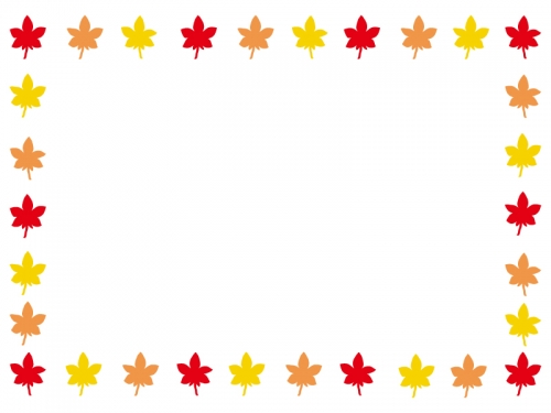 紅葉もみじの囲みフレーム飾り枠イラスト02 無料イラスト かわいい