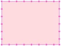 桃色の丸い点線のフレーム飾り枠イラスト