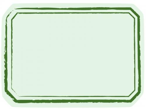 緑色のかすれ線の和風ラベルのフレーム飾り枠イラスト