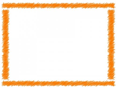 オレンジ色の手書き風のフレーム飾り枠イラスト